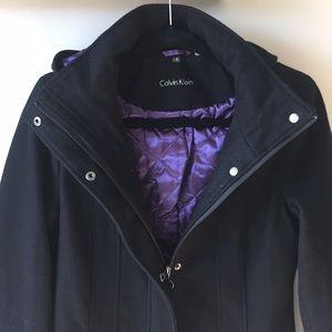 Black Wool Pea Coat with Purple Lining
